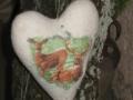 Vintage Herz mit eingefilztem Stoff