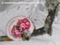 Fingerring mit Stoff, Perlen, Madonnen-Anhänger, eingefasst mit Baumwollpapiergarn