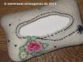 Taschentücher-Tasche mit handgenähter Naht, Applikationen und Baumwollpapiergarn